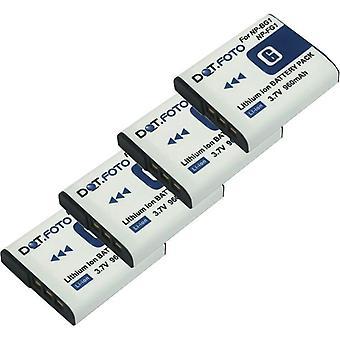 4 x Dot.Foto Sony NP-BG1, NP-FG1 Batteria di ricambio - 3.7 v / 960mAh
