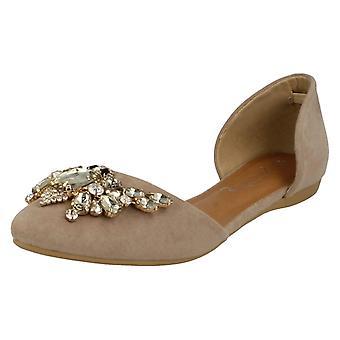 Las señoras sabana plana joya zapatos puntiagudos Trim F80199