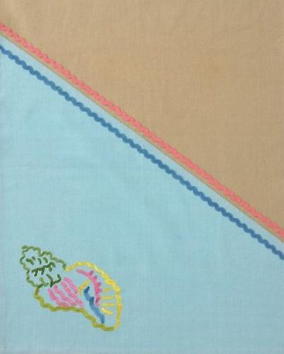 Conch Shell on the Shore Embroidered Cotton Kitchen Dish Towel