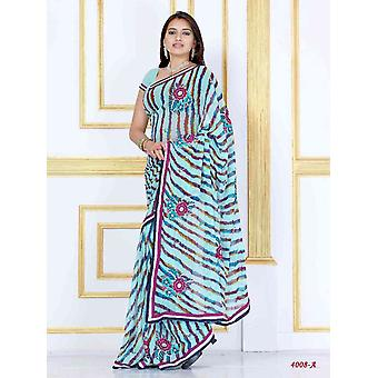 Saree Georgette Designer partito indossare Sari Alaknanda blu cielo