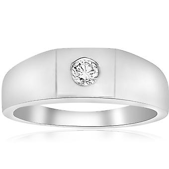 Mens White Gold 1 / 4ct Solitär Lünette Diamant-Ring