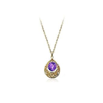 Gold and Purple Hollow Teardrop Necklace Womens