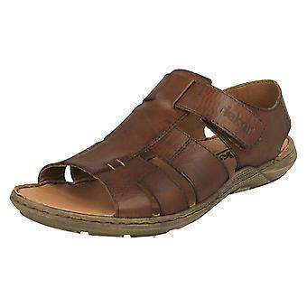 Mens Rieker Casual amarrado sandálias 22073-25-UE de couro marrom - UK tamanho 9 - tamanho 43 - tamanho US 10