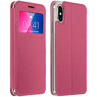 Venster flip case, flip wallet case met standaard voor Apple iPhone X - roze