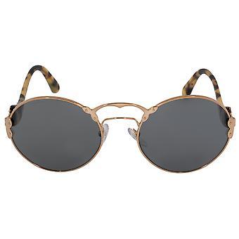 Prada Wanderer Round Sunglasses PR55TS 7OE9K1 57 | Gold Frame | Grey Lenses