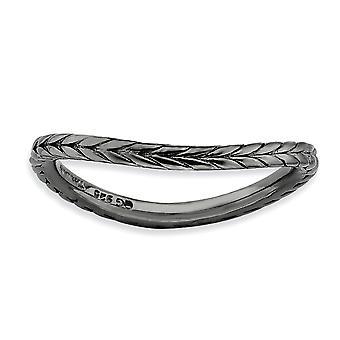 1,5 mm 925 sterling sølv mønstret Ruthenium plating stables uttrykk polert svart plate bølge ring smykker gaver
