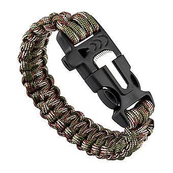 TRIXES Paracord Survival Bracelet with Built in Fire Starter and Whistle Band Camouflage for Hiking Camping Adventuring