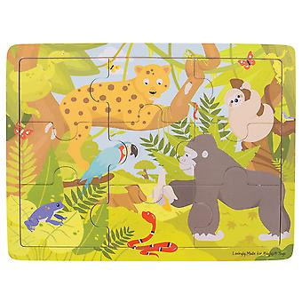 Bigjigs Toys Wooden Tray Puzzle (Jungle) Chunky Educational Jigsaw Game
