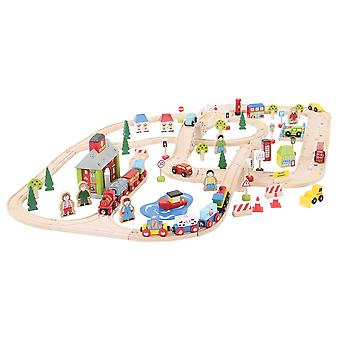 Bigjigs Rail Wooden City Road and Railway Train Track Set Play Set