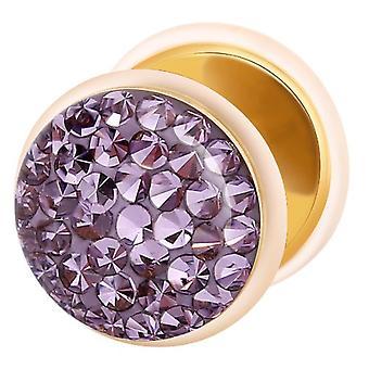 Falska fuskare guldpläterad örat Plug, örhängen, smycken, med Multi Crystal Tanzanite lila