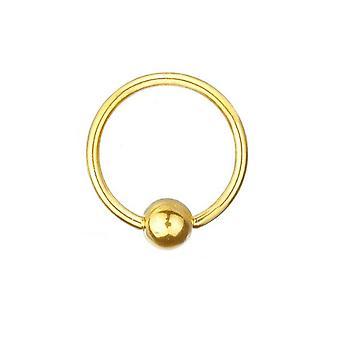 BCR guldpläterade Titan Piercing 1,6 mm, boll stängning Ring | Diameter 8-16 mm