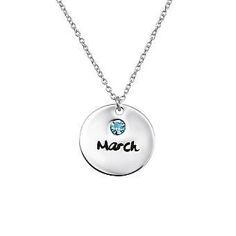 March birthstone - 925 Sterling Silver Jewelled Necklaces - W30216x