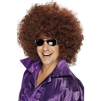 Krzaczaste brązowy peruki Afro, peruka Afro. Mega ogromny 1970 Disco, kostiumy