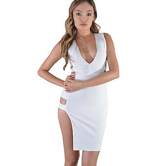 Lovemystyle White Side Cut-Out Bodycon klänning