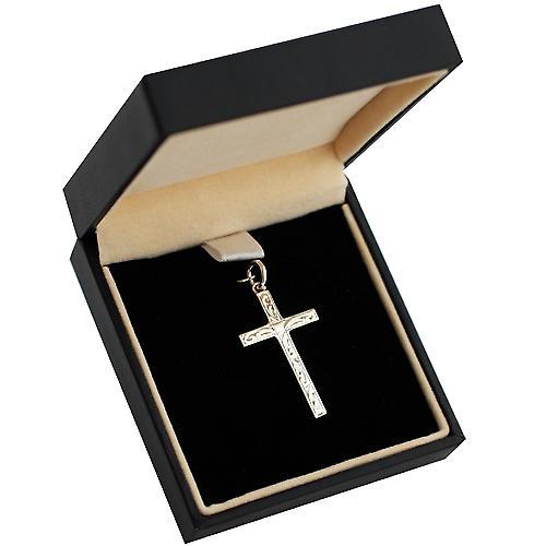 Kreuz Silber 30x18mm Hand gravierte solider block