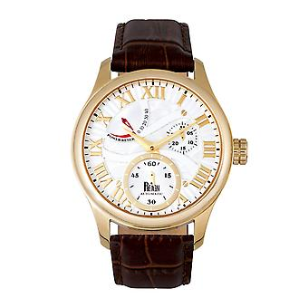 Reign Bhutan Leather-Band Automatic Watch - Gold/Silver