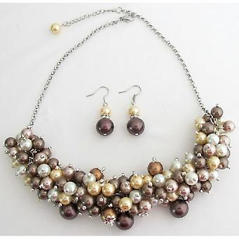 Chunky Necklace In Multi Colors Prom Graduation Jewelry Beautiful Gorgeous Set