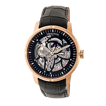 Heritor Automatic Ryder Skeleton Leather-Band Watch - Black/Rose Gold