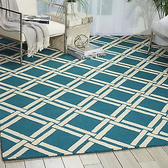 LIN04 linéaire Teal Rectangle Ivoire tapis tapis modernes