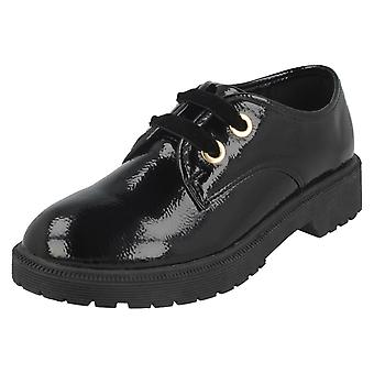 Girls Spot On Lace Up Mid Heel Shoes H2542