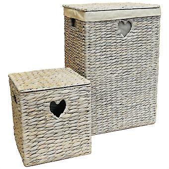 Tejido - tejido Natural del jacinto de agua forrada de lino / canasta de lavandería y caja de almacenamiento - encubrir
