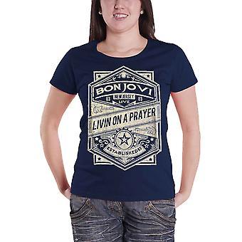 Bon Jovi T Shirt vivant sur une bande de prière logo officiel Womens Skinny fit marine