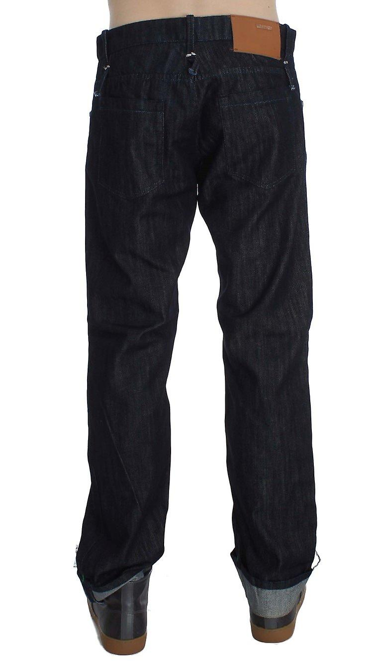 Blue cotton regular straight fit jeans