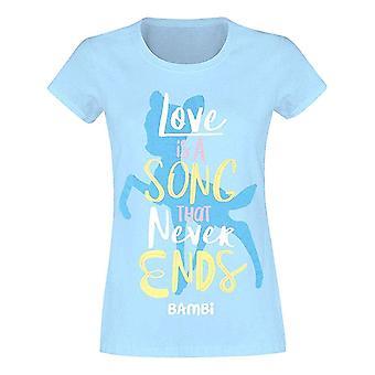 Γυναίκες ' s Μπάμπι αγάπη είναι ένα τραγούδι Blue τοποθετημένο T-shirt