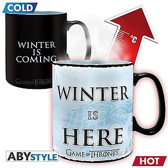 Game of Thrones Thermal Effect Cup XL Winter Is Here blanco/negro, hecho de cerámica, en caja de regalo, zócalo÷gen aprox. 460 ml.