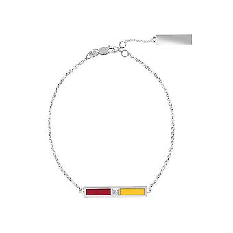 University Of Southern California Sterling Silver Diamond Bar Chain Bracelet In Red and Yellow
