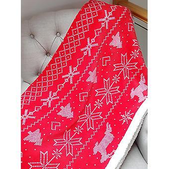 Nordic print bergen Christmas throw deken-rood