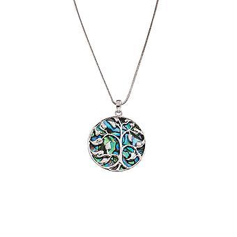 Ikuinen kokoelma mystinen paua Shell Tree of Life Silver Tone riipus kaula koru