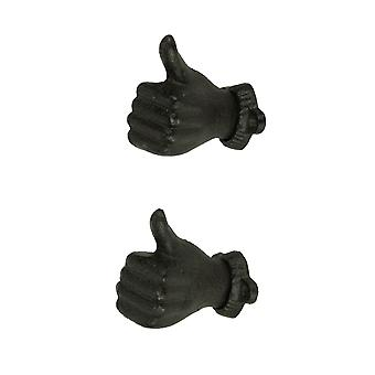Brown Cast Iron Thumbs Up Hand Decorative Wall Hooks Set of 2