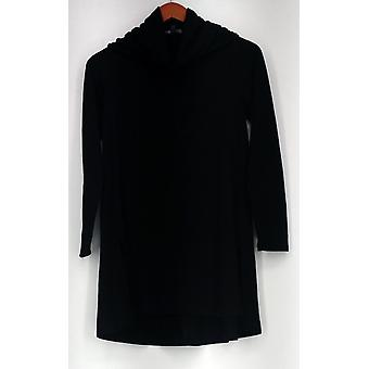 Lisa Rinna Collection Petite Sweater XSP Cowl Neck Tunic Black A297911