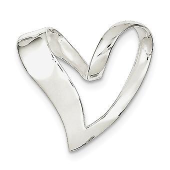 925 Sterling Sølv Solid Ingen kaution poleret Love Heart Slide smykker Gaver til kvinder - 4,4 Gram