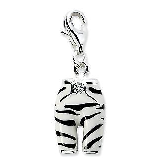 925 Sterling Argento Rhodium placcato Fancy Lobster Chiusura Clicca su C 'Cubic 'ivaia Simulato Diamond Smalto zebre Pantaloni