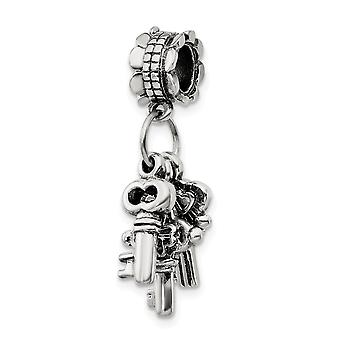 925 Sterling Silver Polished Antique finish Reflections SimStars Keys Dangle Bead Charm Pendant Necklace Jewelry Gifts f