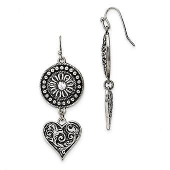 Plata tono pastor gancho amor corazón y sunburst con cristal claro largo gota colgante pendientes regalos de joyería para las mujeres