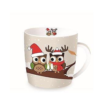 Stow Green Christmas Mug In A Tin, Owls on Branch