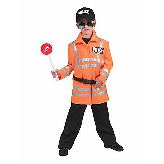Police Kids Costume Orange Warning Jacket Children's Costume Carnival Carnival Carnival Law Keeper Street Polzist