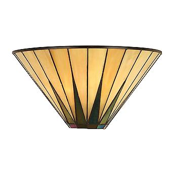 Interiors 1900 Dark Star Single Dimmable Wall Light Uplighter Tiffany Style