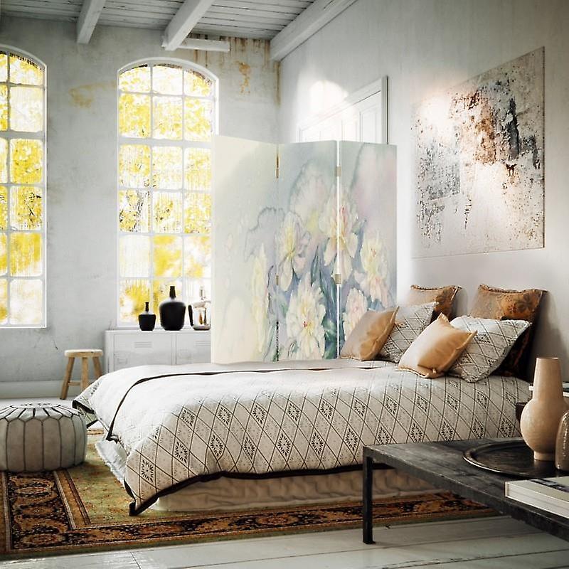 Diviseur de chambre, 3 panneaux, à un seul côté, toile, fleurs blanches 3