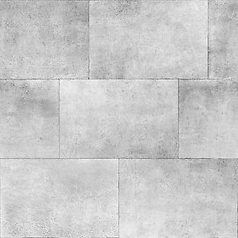 Metallic Brick Wallpaper Silver Muriva 141202