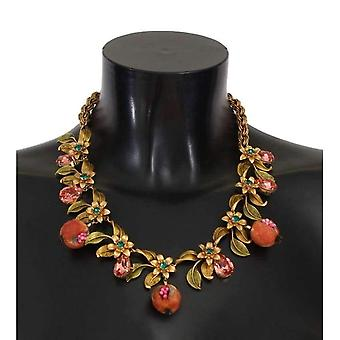 Dolce & Gabbana Gold Figs Fruit Floral Crystal Charms Necklace -- SMY1385968