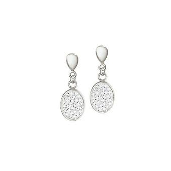 Eeuwige collectie Belgravia Diamante Crystal RVS Drop Clip op oorbellen