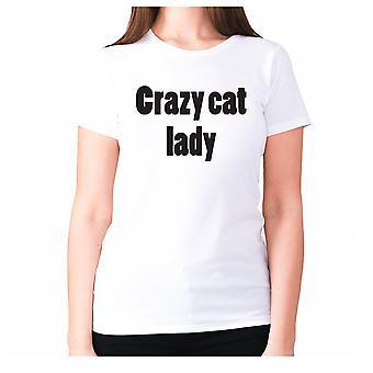 Womens funny t-shirt slogan tee ladies novelty humour - Crazy cat lady