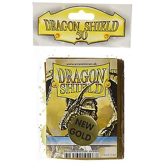 Mangas de tarjeta protectora de Dragon Shield 50 Count Gold (Pack de 10)
