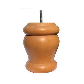 Jambe ronde de meubles en bois blanc 12 cm (M8)