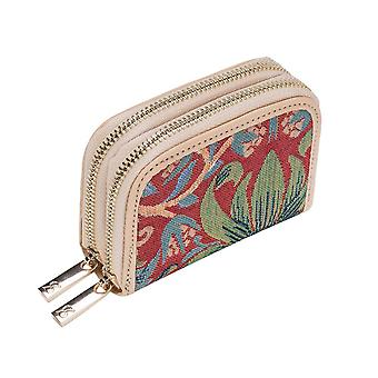 William morris - strawberry thief red rfid money purse by signare tapestry / dzip-strd