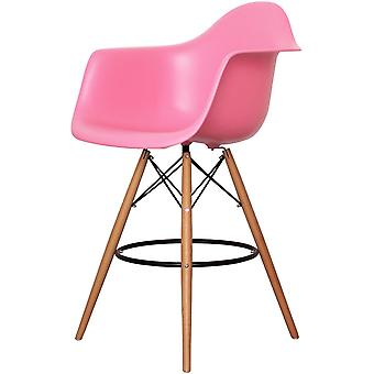 Charles Eames Estilo Pink Plastic Bar Stool With Arms